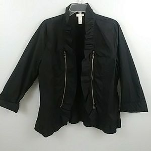 Chico's Black ruffle cotton jacket size 2, large